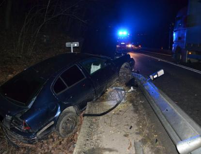 Při havárii u Jablůnky utrpěl řidič lehké zranění