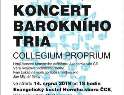 Diakonie Vsetín srdečně zve na benefiční koncert barokního tria COLLEGIUM PROPRIUM
