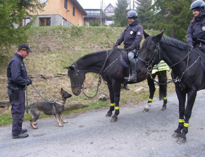 Chaty a rekreační objekty kontrolují policisté na koních i psovodi