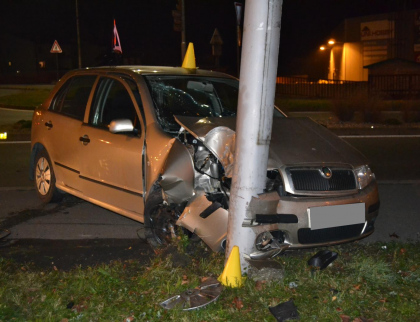 S plně obsazeným autem narazil do sloupu