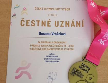 Rožnov třetím nejlepším organizátorem T- Mobile Olympijského běhu
