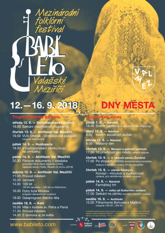 Ve ValMezu začíná Mezinárodní folklorní  festival Babí léto 2018