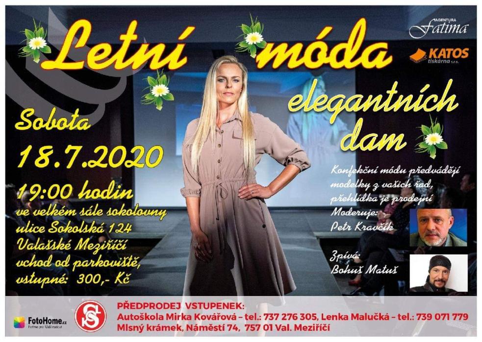 Agentura Fatima pořádá další módní přehlídku Elegantních dam, snázvem Letní móda Elegantních dam, tentokrát ve Valašském Meziříčí