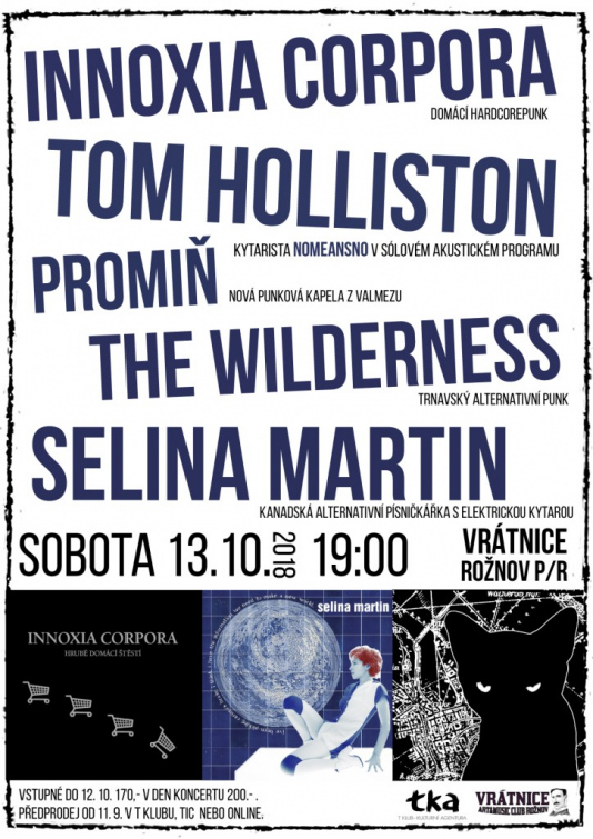 Hudební sobota v Rožnově: Tom Holliston, Slina Martin, Promiň, Innoxia Corpora a The Wildenees