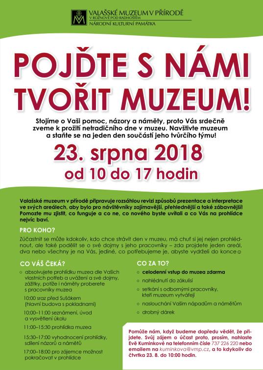Pojďte s námi tvořit muzeum. Netradiční  prohlídku muzejního areálu  zdarma