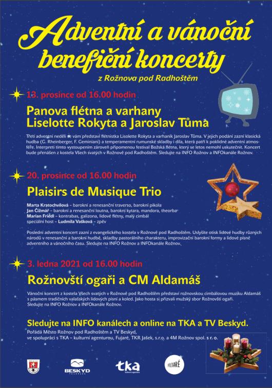 Adventní a benefiční vánoční koncerty zkostelů vRožnově se budou vysílat online