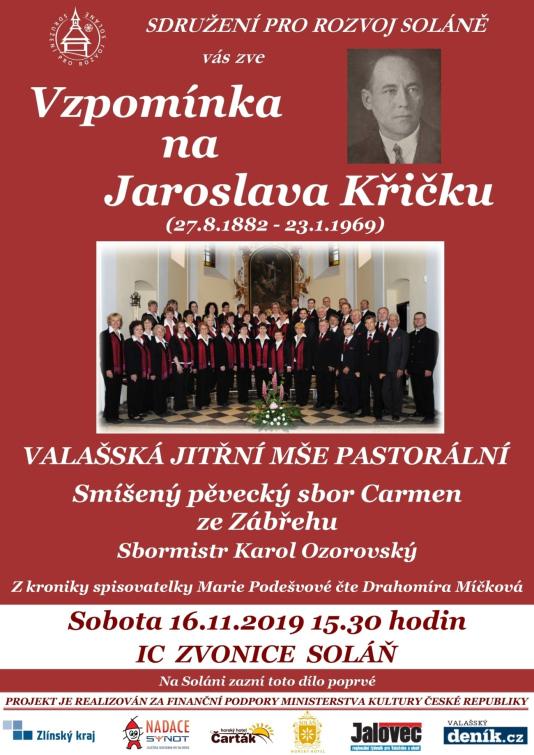 Koncert pro skladatele Jaroslava Křičku  ve Zvonici na Soláni