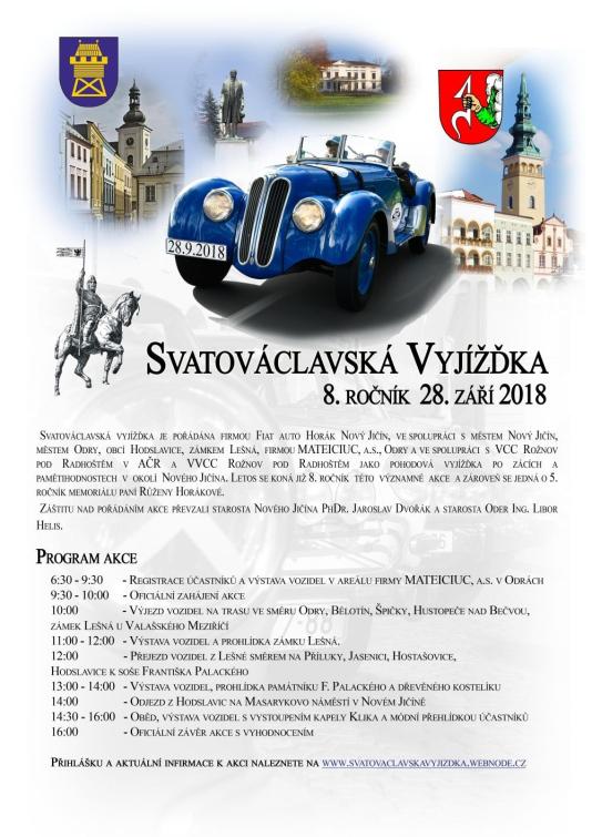 Svatováclavská vyjížďka historických vozidel se zastaví i u zámku Lešná