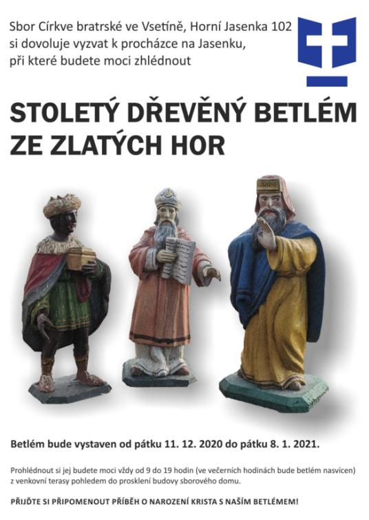Přijďte si připomenout příběh o narození Ježíše Krista prohlídkou stoletého betlému ze Zlatých Hor