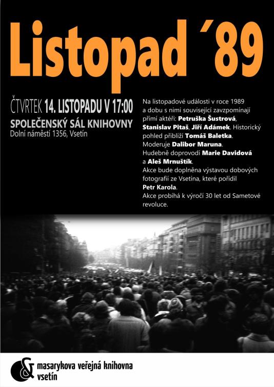 Vsetínská knihovna připravila pořad Listopad 89