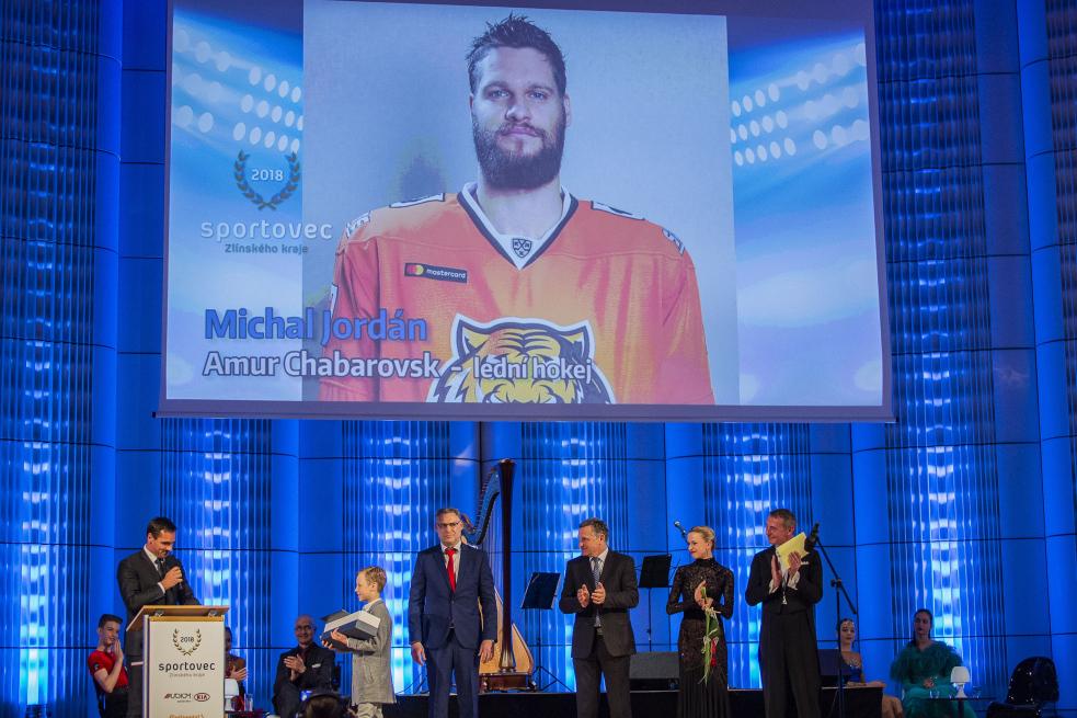 Hokejista Michal Jordán byl vyhlášen Sportovcem roku Zlínského kraje 2018